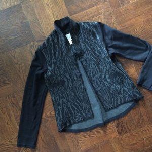 NWOT Anthropologie Silver & Black Ikat Knit Blazer